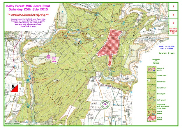 Dalby Forest July 2015 Blank Map