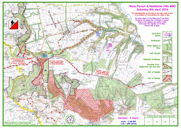 2016 Wass Forest and Hambleton Hills 25000 Working Drawing without Controls 20th March