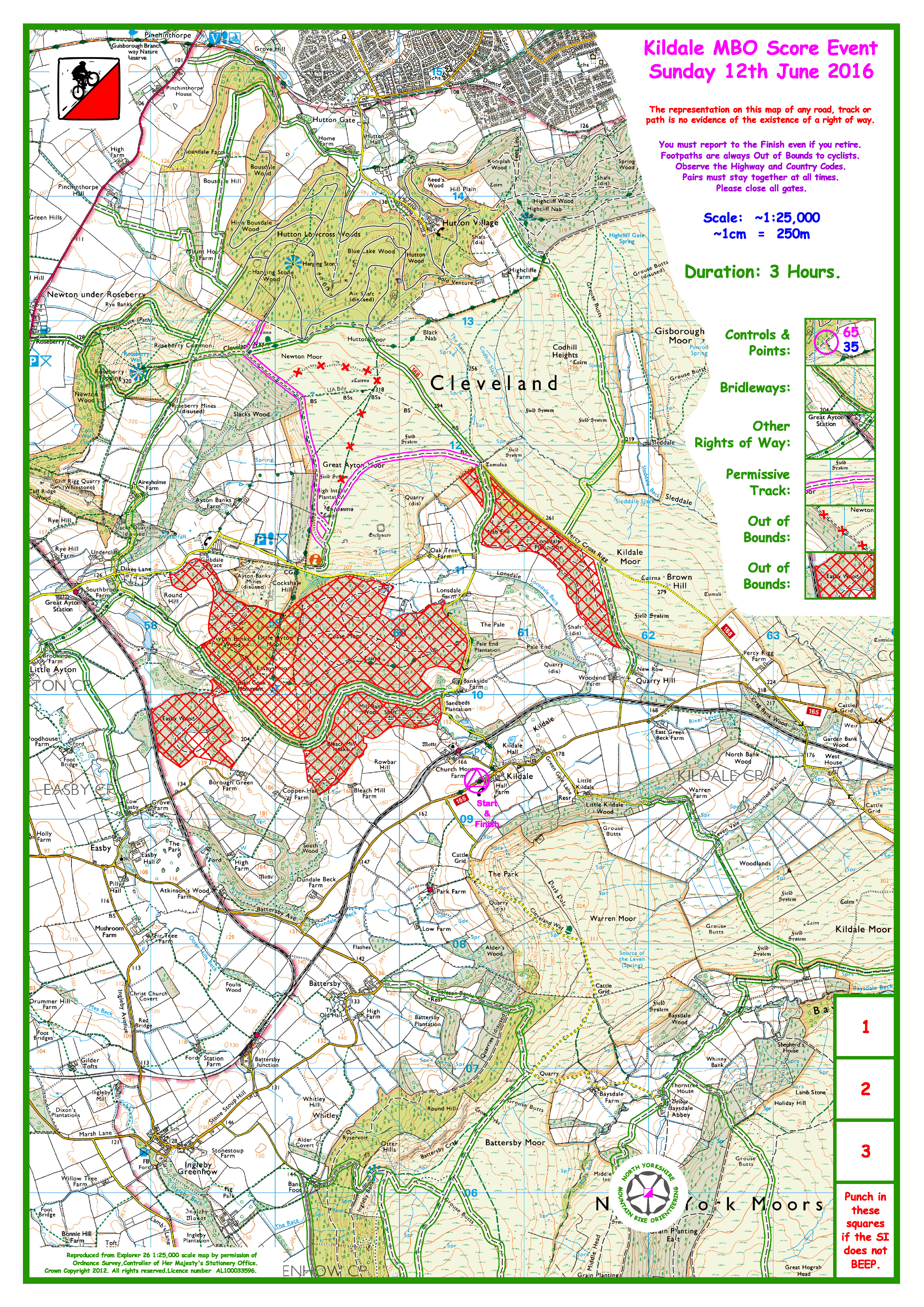 Kildale blank map for Sunday 12th June now available | nymbo : north on