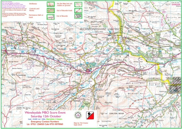 12th October 2019 - Wensleydale course map
